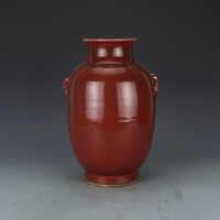골동품 qingdynaty 도자기 꽃병  붉은 병  컬렉션 손으로 만든 공예품 장식품  가정 장식 및 컬렉션
