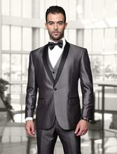 Custom One Button Shiny Silver Groom Tuxedos With Black Shawl Lapel Best Man Wedding Wears Groomsman Suits (Jacket+Pant+Vest+Bow
