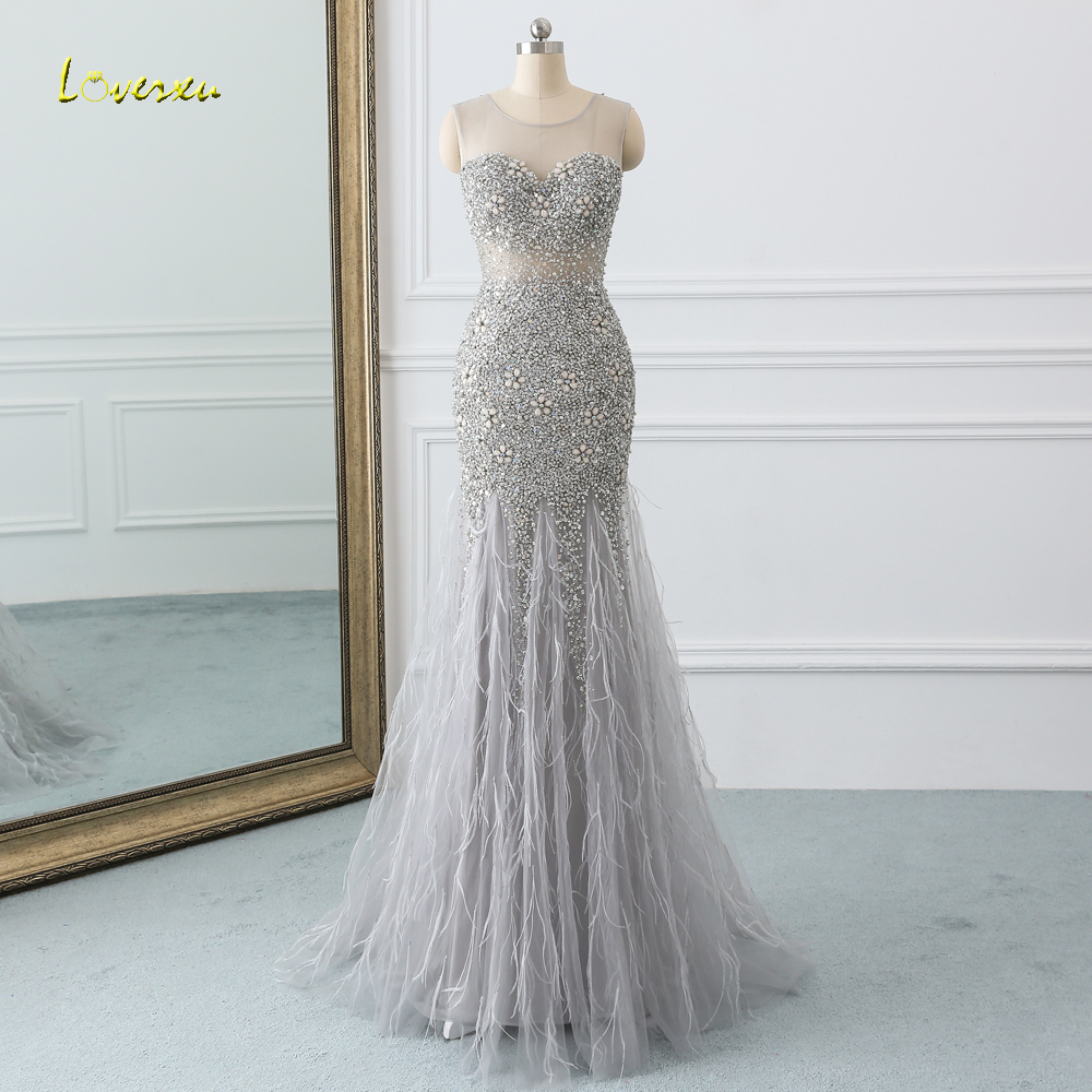 Loverxu Sexy Illusion Feathers Long Mermaid Prom Dresses 2019 Luxury Beaded Crystal Sequined Dress for Party Vestido De Festa