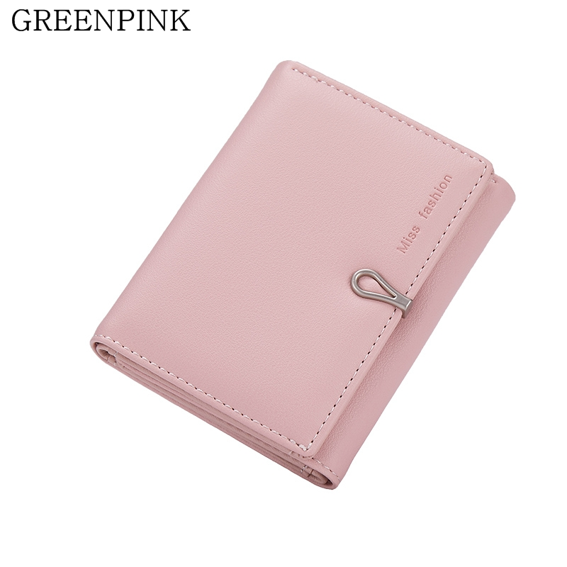GREENPINK Hot 2017 New Women Wallets Fashion Slim Wallet Female Small Solid Color PU Leather Girl Purse Short Coin Card Holder simline fashion genuine leather real cowhide women lady short slim wallet wallets purse card holder zipper coin pocket ladies