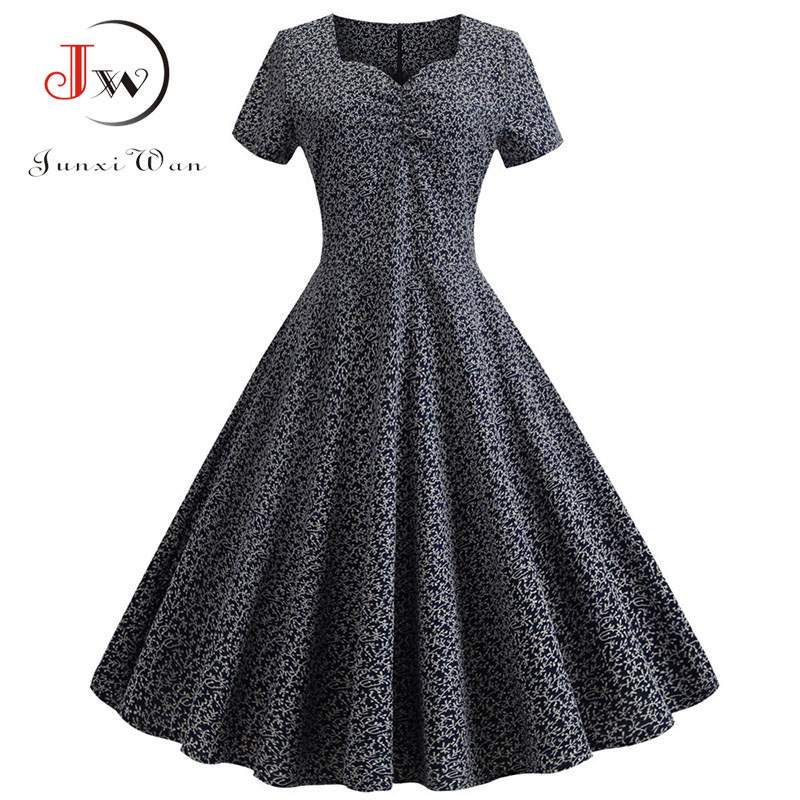 Retro Short Sleeve 3D Print Summer Dress Women 2019 V Neck Swing Vintage Dress Robe Elegant Party Dresses Casual Plus Size
