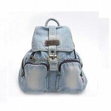 2016 свежий кружева джинсовые женские холст рюкзак мешок школы для девочек дамы подростки свободного покроя дорожные сумки школьный рюкзак LI-497