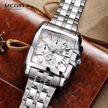 MEGIR hot fashion men's business quartz watches luxury stainless steel wristwatch for man lunimous three-eyes watch for male2018 все цены