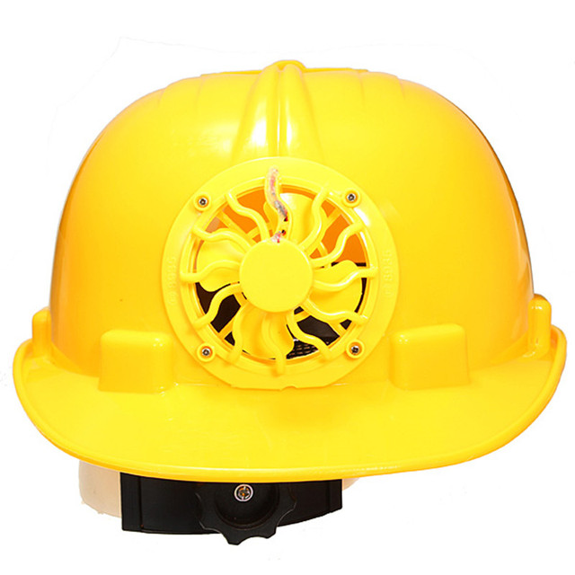 New  Adjustable 0.3W PE Solar Powered Safety Security Helmet Hard Ventilate Hat Cap with Cooling Cool Fan Yellow Free Shipping
