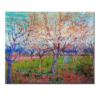 Orchard with Blossoming Apricot Trees of vincent van gogh hand made reproduction oil painting on canvas for home decoration