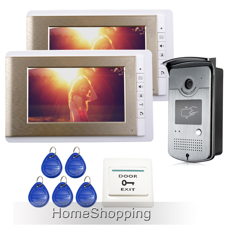 FREE SHIPPING Hot Wired 7 TFT Video Intercom Entry Door Phone System 1 RFID Card Doorbell Camera + 2 Golden Monitor Whole sale