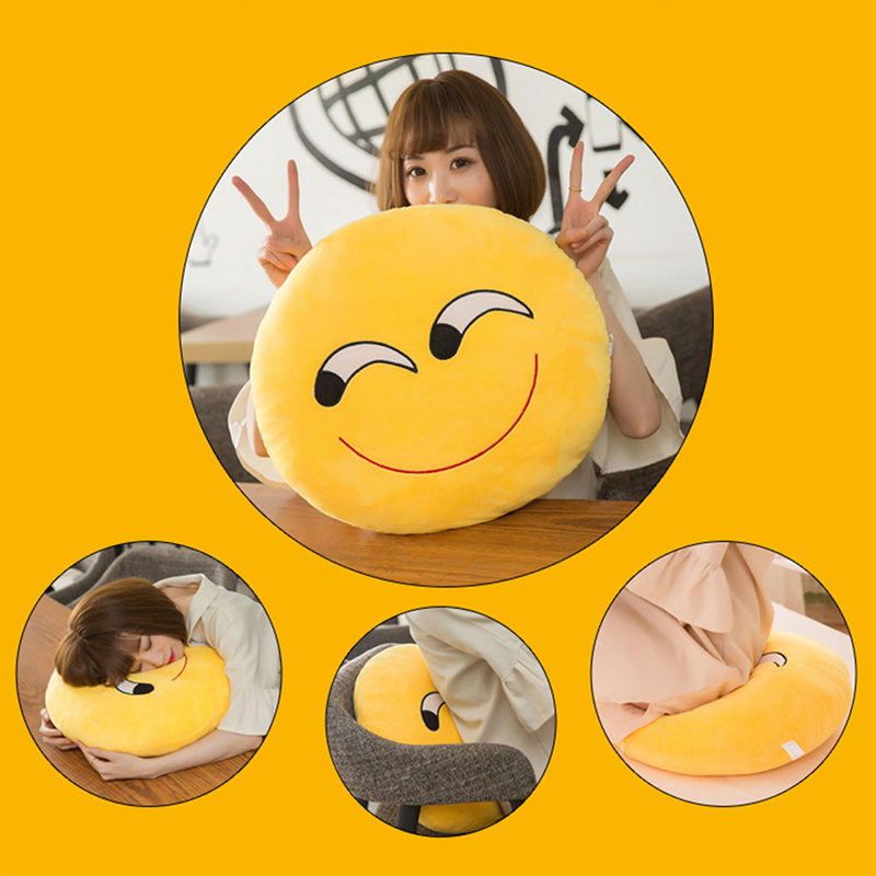30 CM Soft Emoji Yellow Round Cushion Emoticon Stuffed Plush Toy Smiley Pillow Activity Small Gift Funny Hold Pillow #253935 5