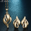 AYAYOO Plant Pendant Necklace Dubai Imitation Crystal Earrings Jewelry Sets For Women African Beads Link Chain Party Accessories
