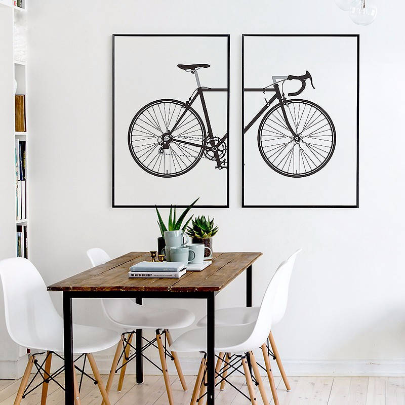Nordic black and white fashion bike painting canvas posters