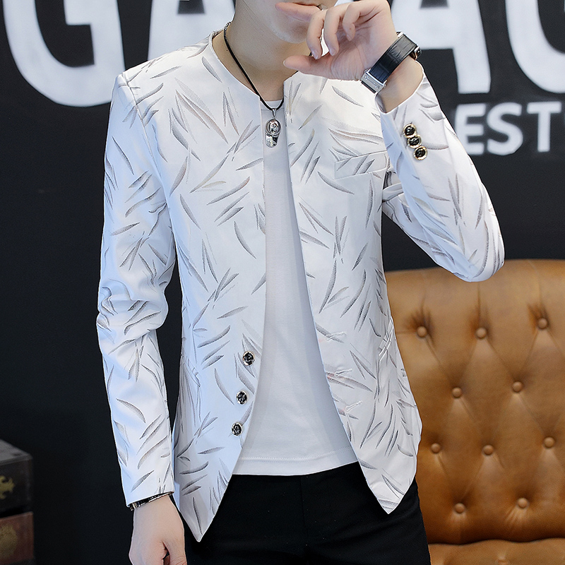 2019 New Man    Printed Handsome Blazer Trend Cultivate One's Morality Thin Collar Blazer  Youth Fashion Hot Stamping Blazers