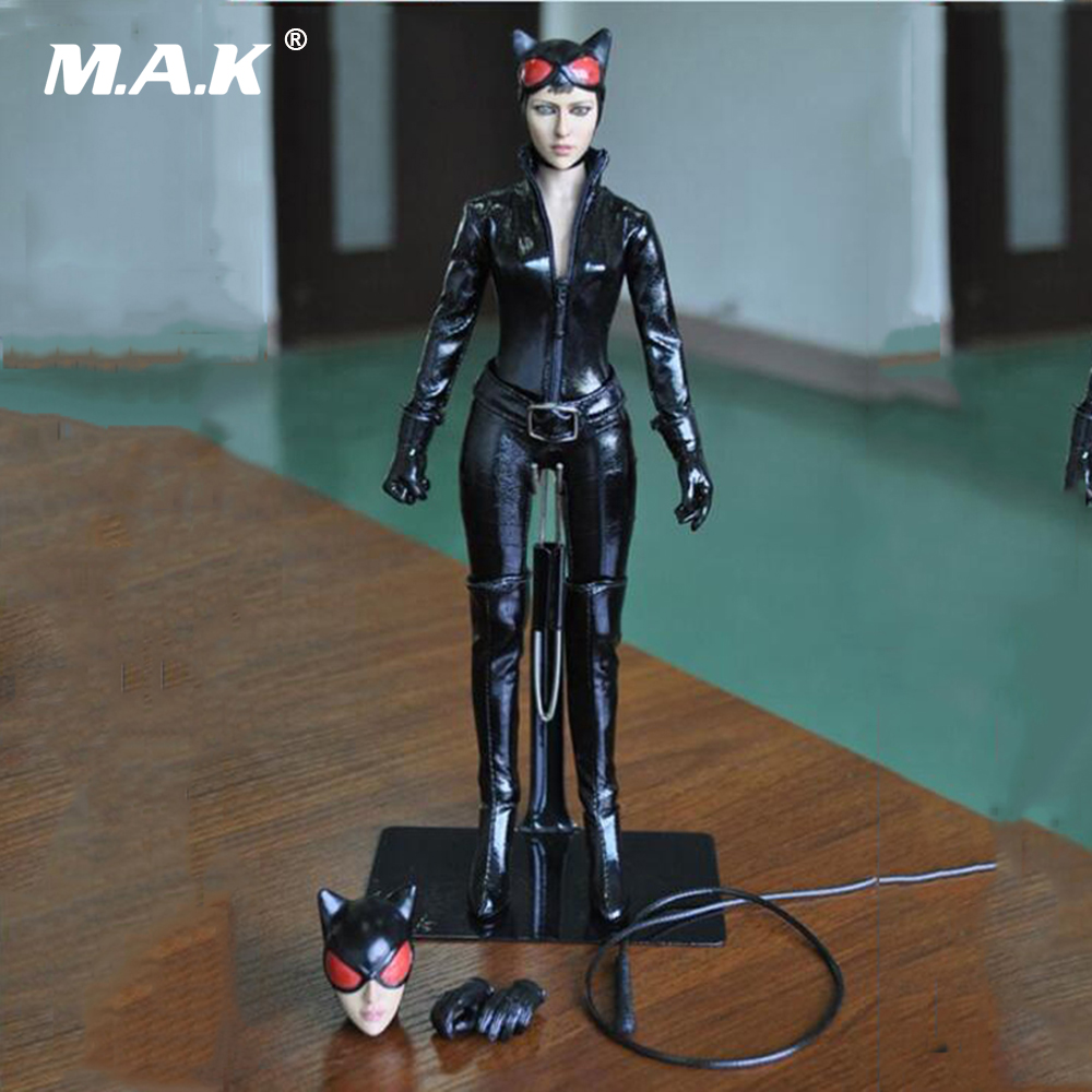 1/6 Scale Batman Catwoman Figure Doll With Black Leather Clothing Set Collectible Toy Female Action Figure Models Toys Gift 1 6 scale figure captain america civil war or avengers ii scarlet witch 12 action figure doll collectible model plastic toy