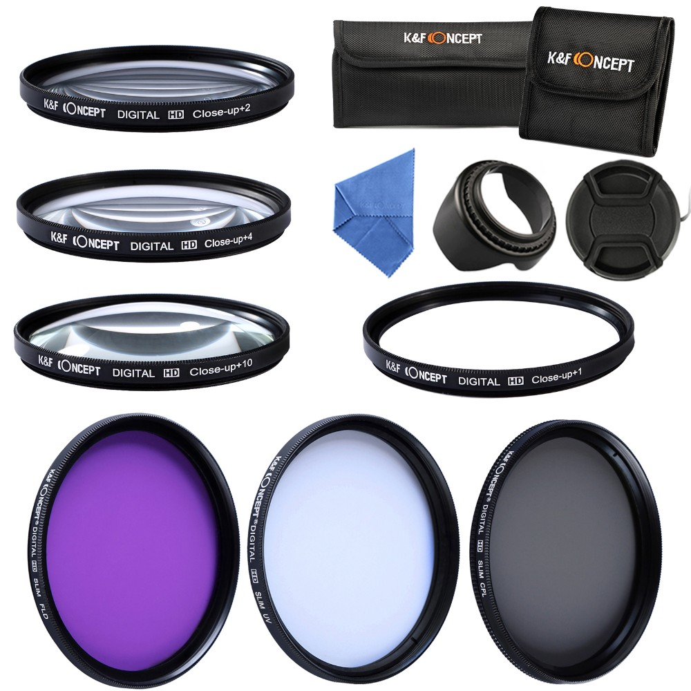 K&F CONCEPT UV CPL FLD Close Up Filter+1+2+4+10 52/55/5862/67/72/77mm Camera Lens Filter Kit+Lens Hood+Cap+Pouch+Cleaning Cloth 22