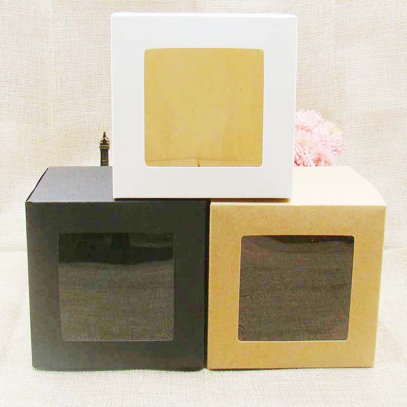 10*10*10cm White/black/kraft Window Box Packing Gift Boxes With Pvc Window For Candy/Cake/Soap/Cookie/Cupcake Display Box