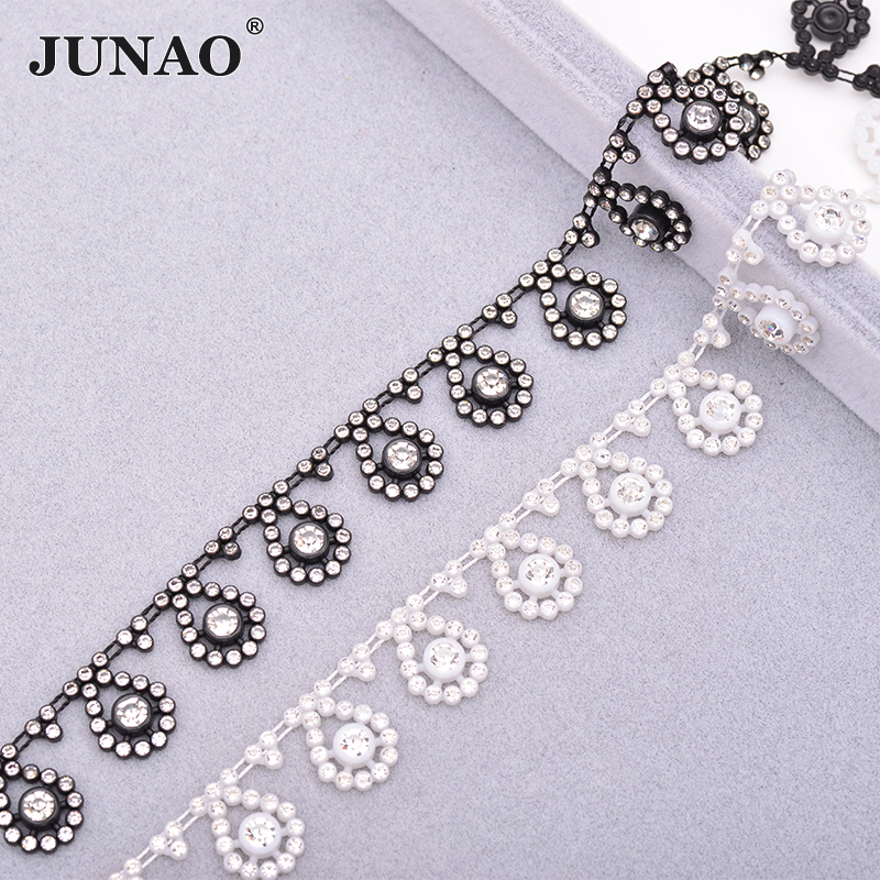 JUNAO 1 Yard Clear Black Sewing Rhinestone Trim Chain Crystal Applique Strass Tape Banding for Clothes Decoration