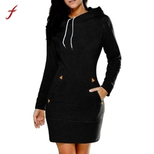 FEITONG Women Dress Ladies Hooded Sweatshirt Long Sleeve Sweater Hoodies Jumper Mini Dress New Autumn Winter Plus Size Dresse
