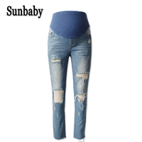 Sunbaby Street Fashion Big Hole Distrressed Skinny maternity jeans trousers for pregnant women pregnancy casual jeans