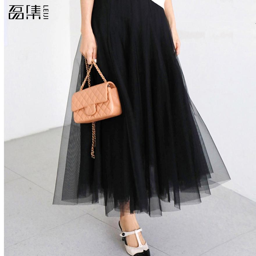 Fashion Tulle Skirt Pleated  Plus Size Skirts Womens Lolita Petticoat  Vintage Midi Skirt Jupe Saias Faldas 100kg