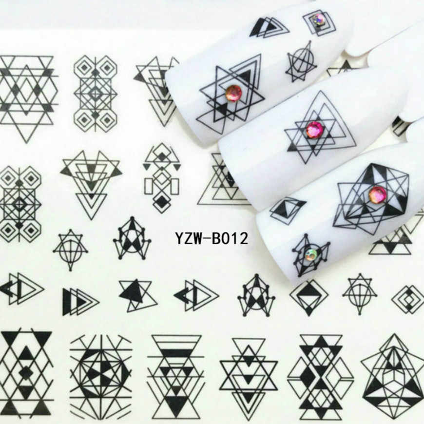 TLYM 1 Pcs 30 Designs Nail Sticker Set Black White Triangle Decal Water Transfer Slider For 3D Nails Art Decoration #02