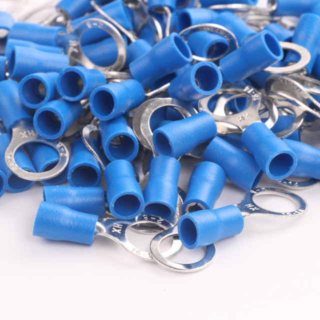 4x25pcs 16 14 Ga Awg Gauge 2 8mm Insulated Electrical Power Wire Ring Eye Connectors Cold Pressed Crimp Terminals Blue
