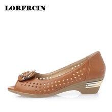 LORFRCIN Zapatos de Cuero Genuinos de Las Mujeres Sandalias Huecos Mujeres Peep Toe Tacones Altos Sandalias de Metal Decoración Zapatos de Las Señoras Tamaño 34-42