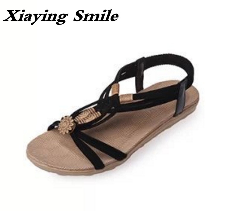 Xiaying Smile New Summer Women Sandals Casual Fashion Shoes Bohemian Style Flats Ladies Hollow String Bead Flora Slip On Shoes xiaying smile summer new woman sandals platform women pumps buckle strap high square heel fashion casual flock lady women shoes