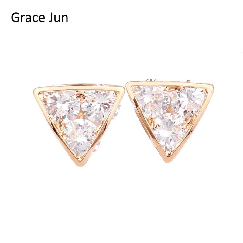 Grace Jun(TM)イヤリングに高品質の銅メッキゴールドクリップピアスなしAAA CZトライアングル形状なしイヤホールなしイヤリング宝石類
