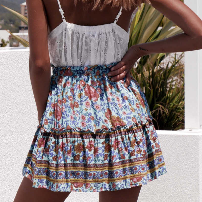 Été style décontracté femmes plage boho mini jupe 2019 femmes Floral imprimé bohème mode fleur imprimer jupe femmes jupes