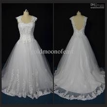 Backless Sexy a-line tulle and satin Appliques bride wedding dresses cap sleeve sweetheart court train Real photos