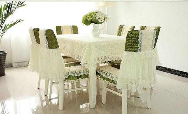 € 161.57 |130 x 180 cm mantel 6 sets silla discos abrasivos de centro mesa  de comedor cubierta del paño de encaje de poliéster de estilo europeo en ...