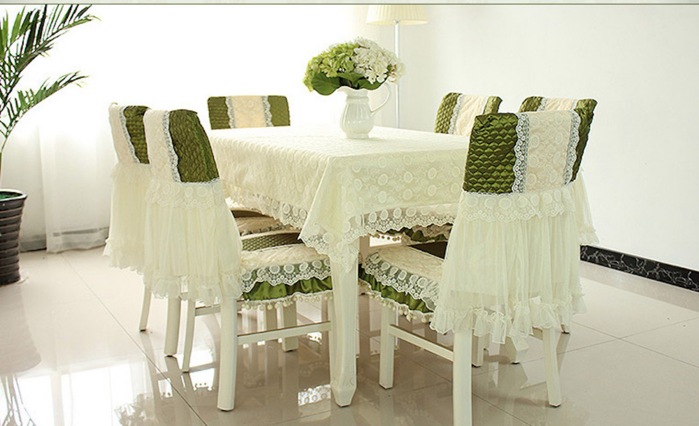 130x180cm Tablecloth 6 Sets Chair Backing Pads Dining Table Coffee Table Cover Cloth Lace Polyester European