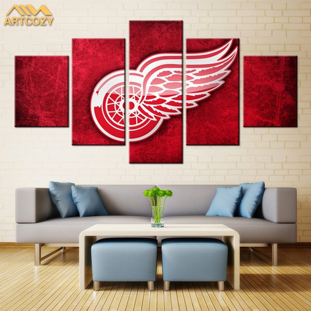 Artcozy 5 panel modern usa big red wingteam wall art painting world artcozy 5 panel modern usa big red wingteam wall art painting world map canvas painting for gumiabroncs Choice Image