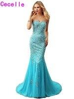 Блестящие синие тюлевые платья для выпускного вечера, любимая девушка Формальные Вечерние Выпускные платья кристалл с поездом девушки фор
