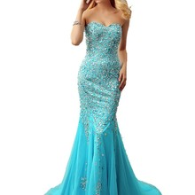cecelle Sparkly Blue Mermaid Tulle Prom Dresses With Train