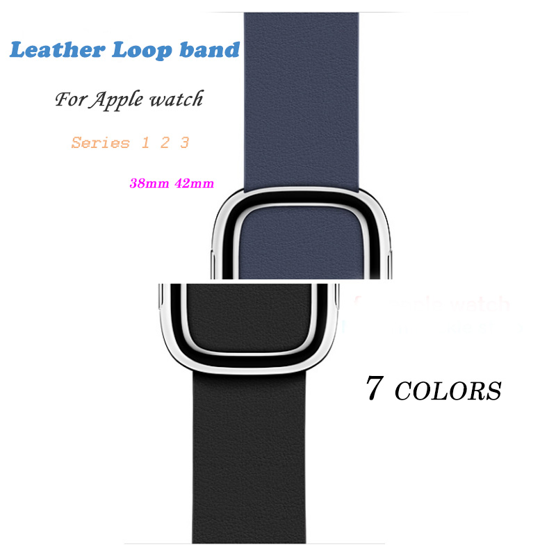 SUEF quality leather buckle for apple watch strap for apple watch band 42mm / 38mm for iwatch 3/2/1 strap bracelet high quality black color leather 38 42mm width apple watch strap band for apple watches