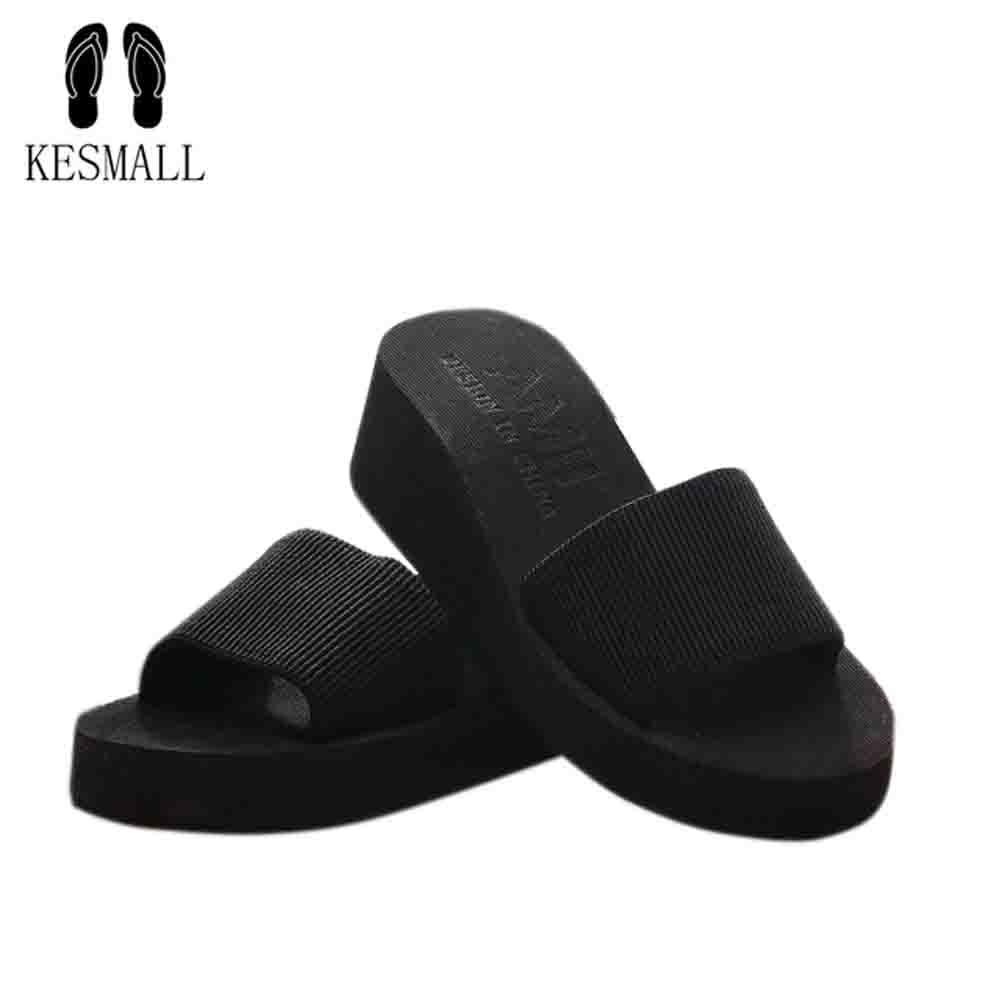KESMALL D'été Femme Chaussures Plate-Forme De Bain Pantoufles Plage De Coin Flip Flops Haute Talon 7 CM Pantoufles Pour Femmes Noir EVA Femmes chaussures