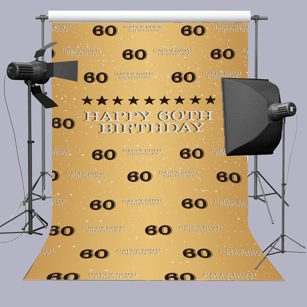 5X7ft <font><b>60th</b></font> <font><b>Birthday</b></font> Golden Photography <font><b>Backdrop</b></font> Adult Step Cheers to 60 Years Background Happy Sixty Years Old Age Party Decorat image