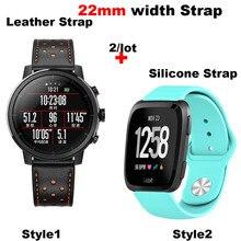 Купить с кэшбэком Leather Bracelet Strap 22MM Men Women Smart Watch Pulsera Correa Watchband Silicone Wrist Band Quick release Watch Accessories