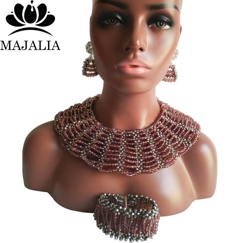 Majalia Classic Nigerian Wedding African Jewelry Set Dark purple and Silver Crystal Necklace Bride Jewelry Sets 10SX026Majalia Classic Nigerian Wedding African Jewelry Set Dark purple and Silver Crystal Necklace Bride Jewelry Sets 10SX026