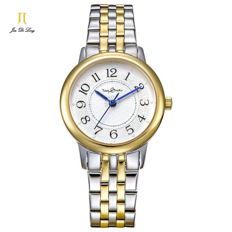 Marque Simple mode dames montre décontracté or Quartz montres Ultra mince en acier inoxydable horloge étanche montre-bracelet
