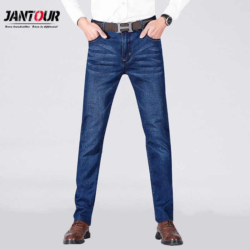 Jantour 2020 New Mens Jeans Casual Jeans Regular Fit Straight Leg Elasticity Jeans Stretch fashion Long Trousers Big Size 28-40