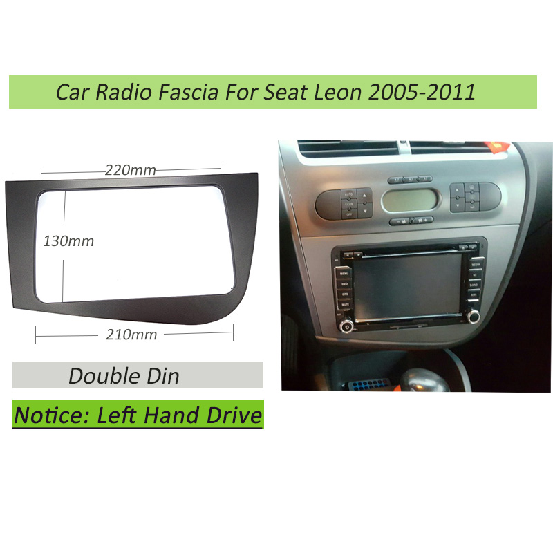 Double 2 Din Fascia For Seat Leon LHD Radio GPS Stereo Radio Panel Dash Mounting Installation Trim Kit Face Frame Bezel stereo panel for mazda 3 axela double din radio fascia refitting dash mounting installation trim kit frame