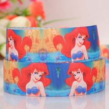 "20Y 7/8""22mm red hair Ariel princess ribbon cartoon pattern Printed, grosgrain ribbon hairbow DIY gift 039122(China)"