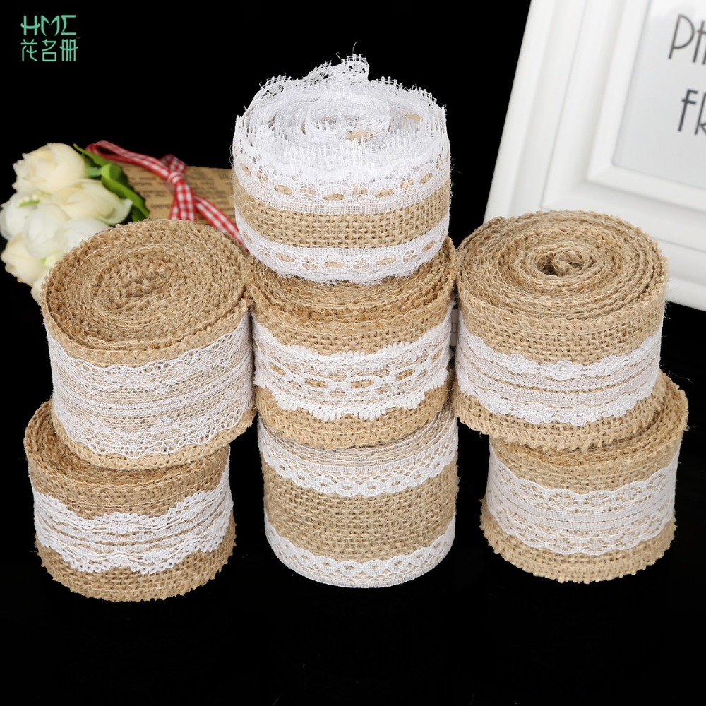 5cm 2m/roll Natural Jute Burlap Hessian Ribbon With Cotton Lace Diy Trim Fabric For Sewing Wedding Decoration Accessories #5