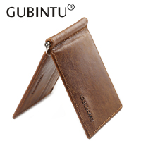 Chic GUBINTU Solid First Layer Genuine Leather Money Clip Wallet Slip Metal Short Wallets Men Slim