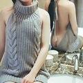 2017 Hot Sexy Трикотажные Хлопок Virgin Killer Весной Новые Женщины Сексуальное Спинки Твердые Жилет Пуловеры Водолазка Без Рукавов Свитер Топ
