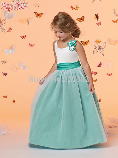 2015 White And Green Kids Dresses For Girls Scoop Sleeveless Back ...