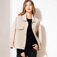 Jacket Women Short Coat 80% Wool 20% Viscose Classic Simple Design Solid Turn down Collar Pockets 2019 New Fashion