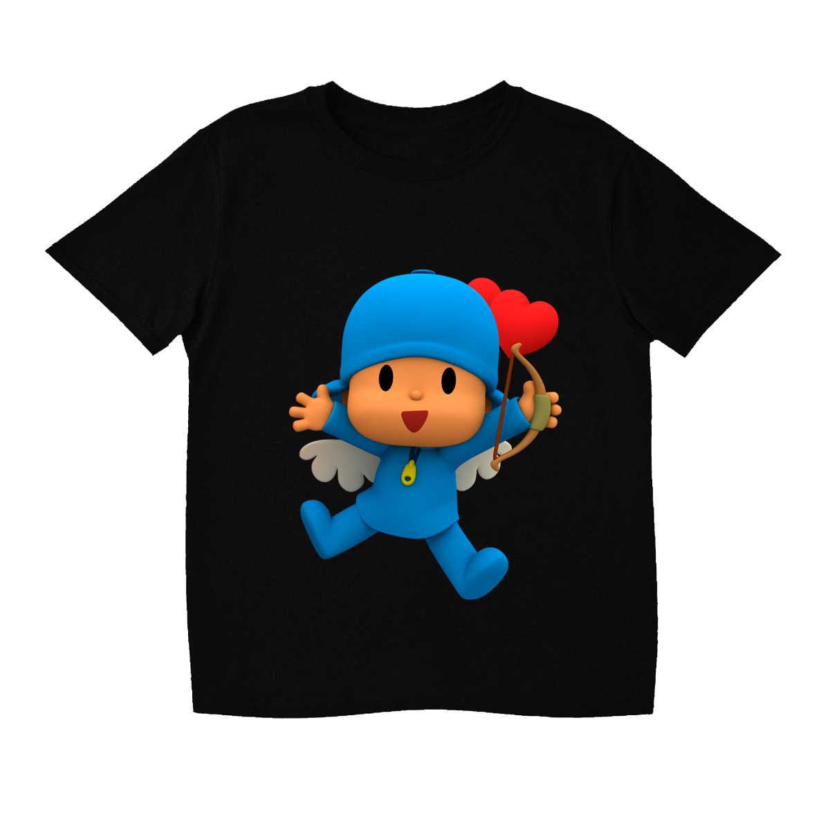 ZSIIBO Crianças de Manga Curta T-shirt Para O Menino Branco de Verão Roupas Meninas Camiseta Roupa Do Bebê Adorável Pocoyo Traje Impressão