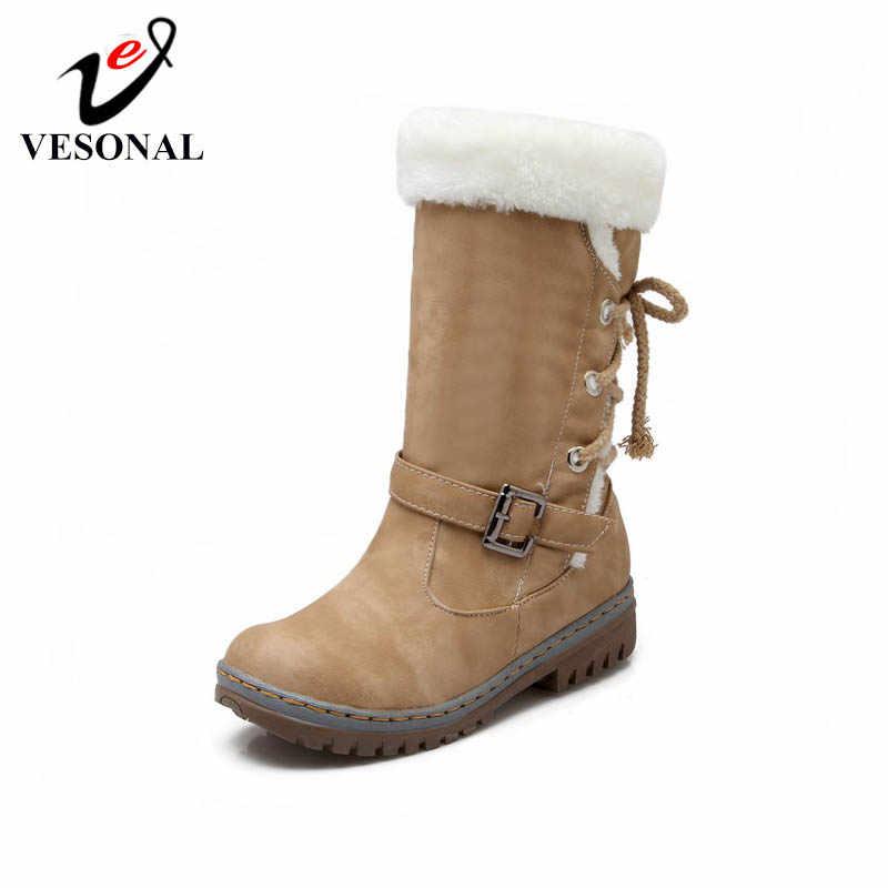 VESONAL/2019 г. Зимняя кожаная теплая зимняя обувь женские ботинки бархатные сапоги до середины икры с Плюшевым Мехом женская обувь ботинки женская обувь
