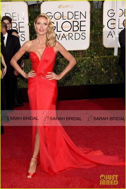Heidi Klum 2015 Golden globe Awards Celebridade no tapete Vermelho vestidos Red Chiffon Da Sereia Prom Vestido de festa Vestidos Sexy